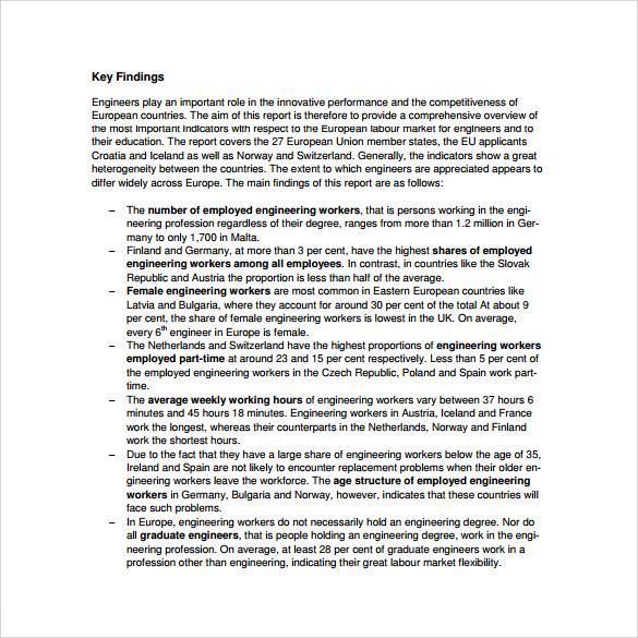 engineering report template example