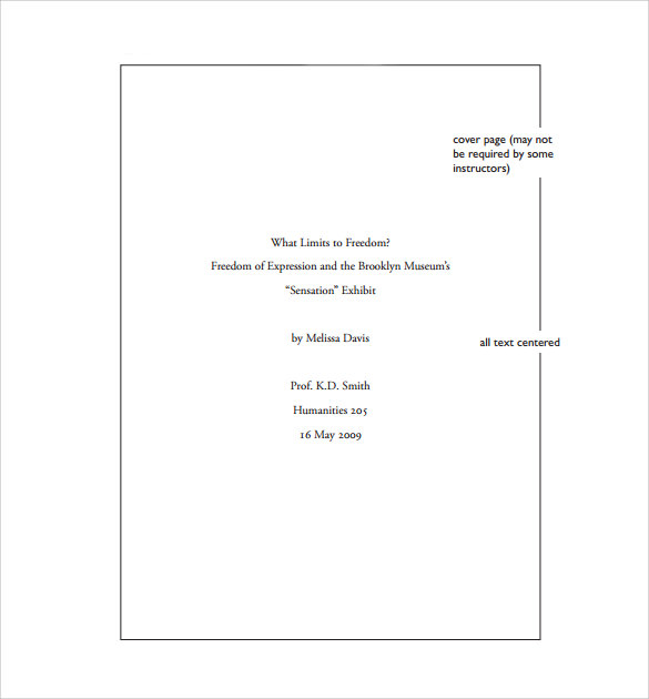 Cover Page Format For Mla Research Paper Term Paper