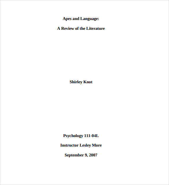 Sample Mla Cover Page Template 6 Free Documents In Pdf