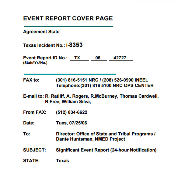 event report cover page template