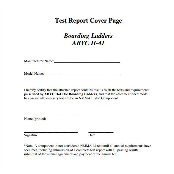 test report cover page template
