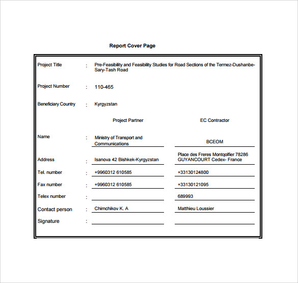 Doc610790 Report Cover Page Example Report Cover Sheet – Report Cover Page Example