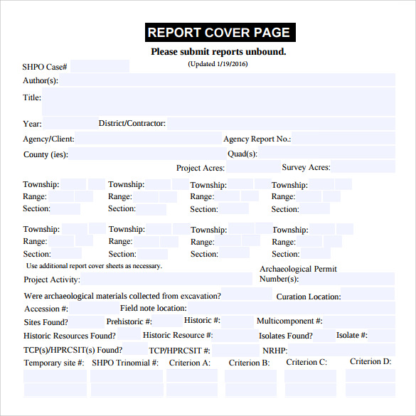 report cover page template download