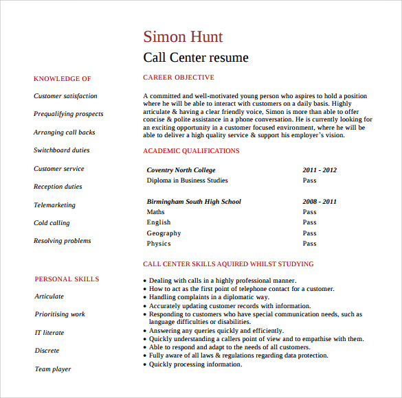 call center customer service representative resume - Customer Service Call Center Resume Sample