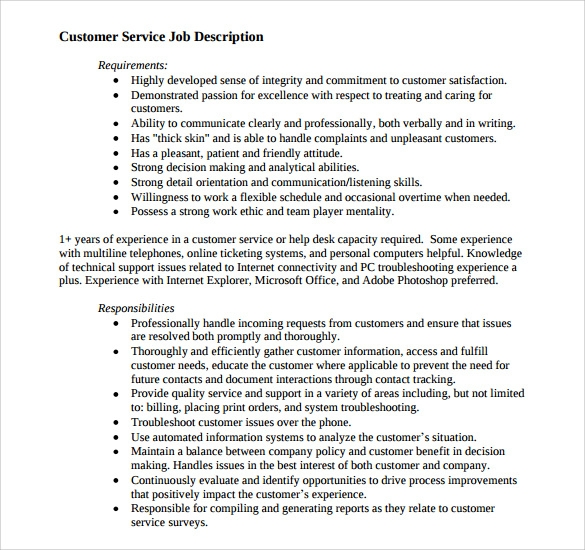 Customer Service Representative Responsibilities Resume, Writing