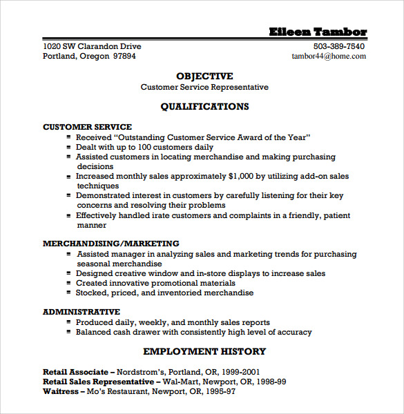 Sample Customer Service Representative Resume - 9+ Free Documents