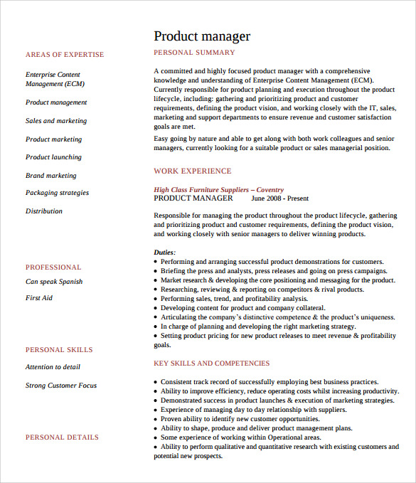 download product manager resume 1
