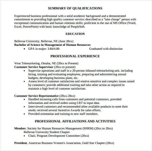 sample customer service representative resume 9 free