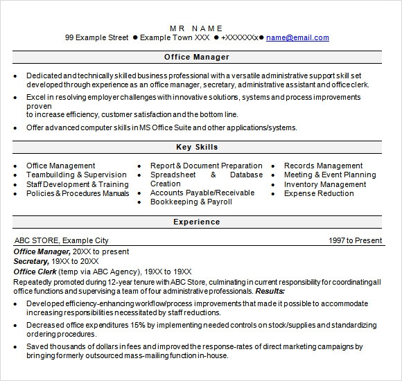 Healthcare Resume Template Medical Resume Templates Free Example  Office Manager Sample Resume