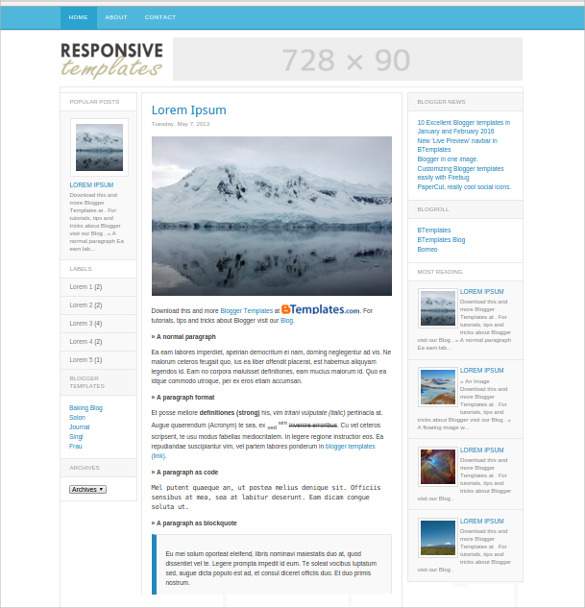 16  Free Blog Themes   Templates Sample Templates TqIsBtid