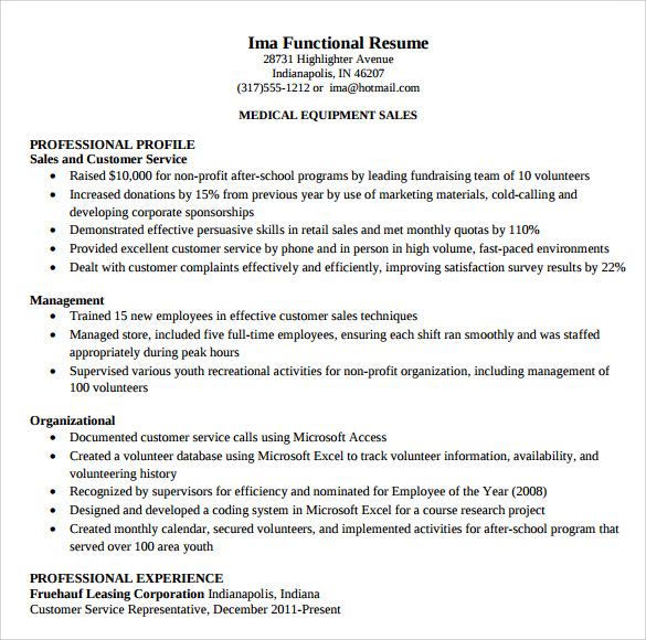 sample customer service representative resume