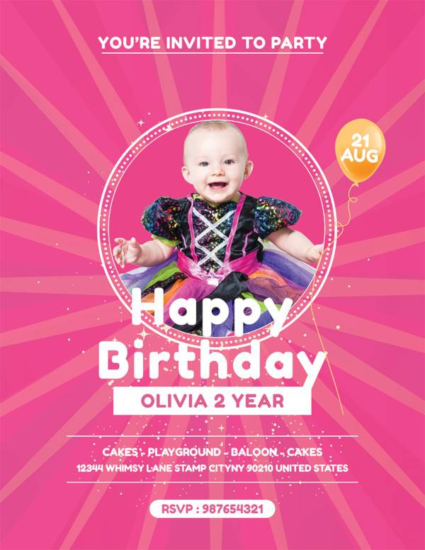 baby birthday party flyer