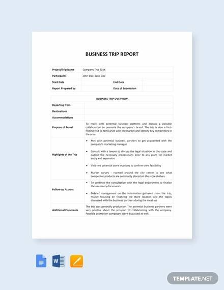 14 sample trip reports word apple pages