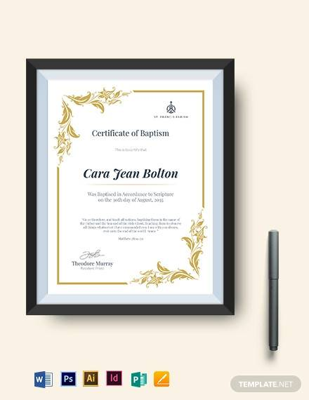 catholic baptismal certificate template