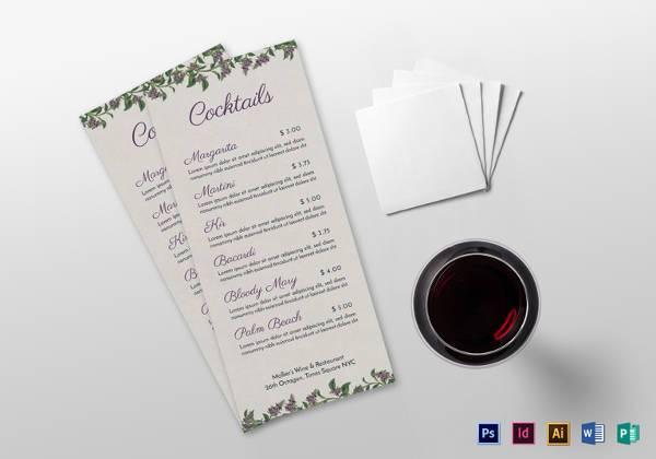 cocktail menu template in psd format