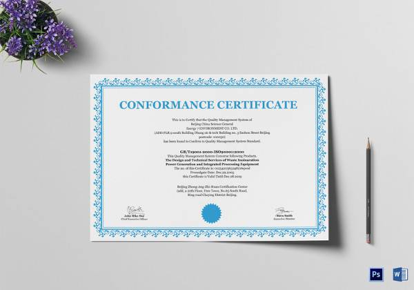 sample certificate of conformance 20 documents in pdf