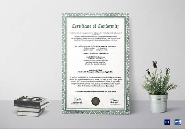conformity certificate template1