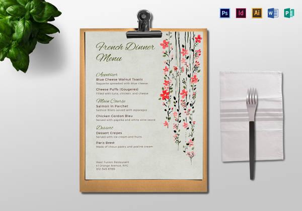 dinner menu templat