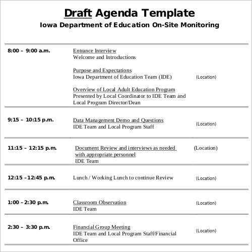 Sample Agenda Template 41 Download Free Documents in PDF Word – Classroom Agenda Template