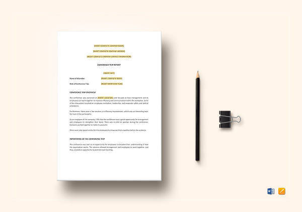 easy to print conference trip report template