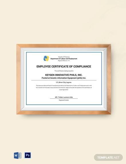 employee compliance certificate template