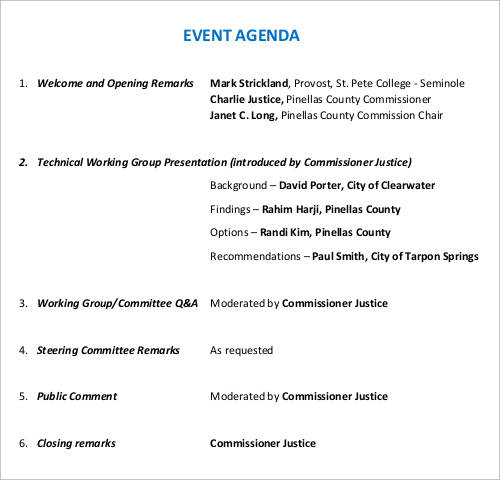 Event Agenda Eventagendatemplate Sample Agenda Template Download