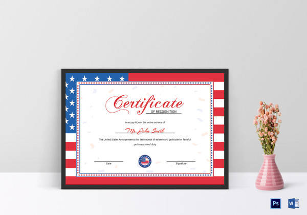 flag recognition certificate template1