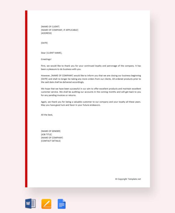 free closing business letter to clients