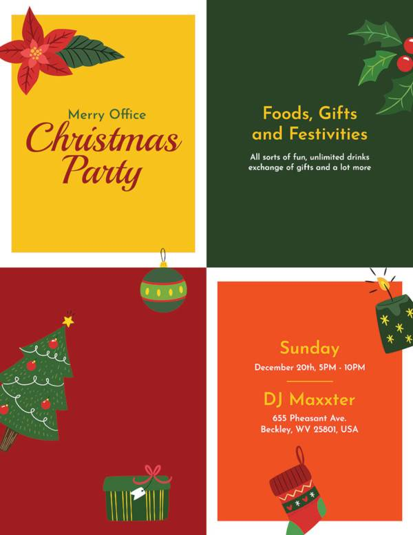 free office holiday party flyer template