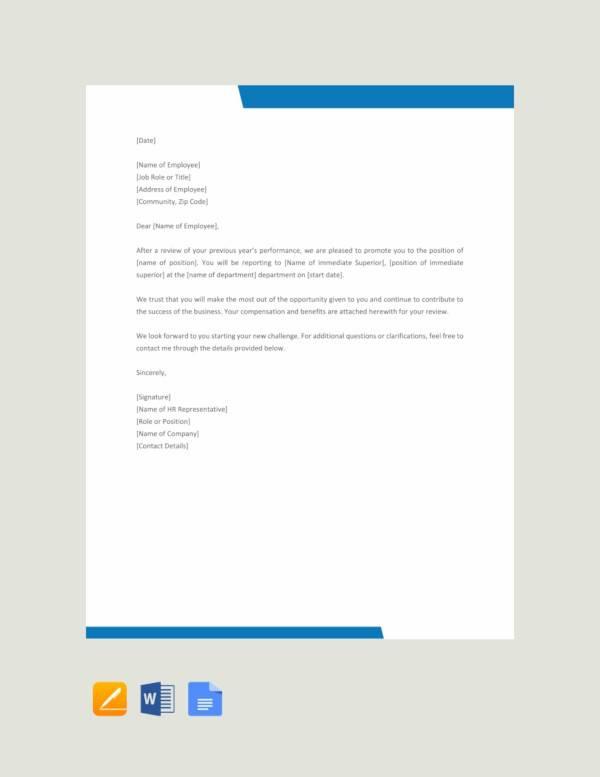 free promotion letter format