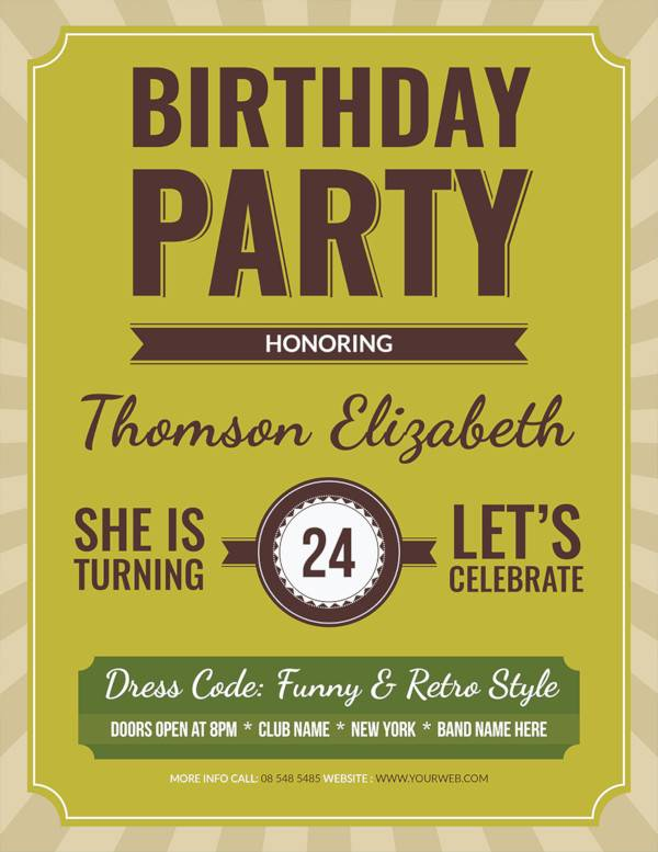 free retro birthday flyer