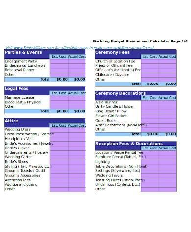 general wedding budget calculator
