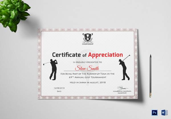 golf appreciation certificate template