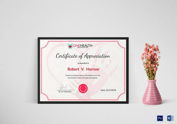 Sample certificate of appreciation temaplate 24 download health appreciation certificate template yadclub Choice Image