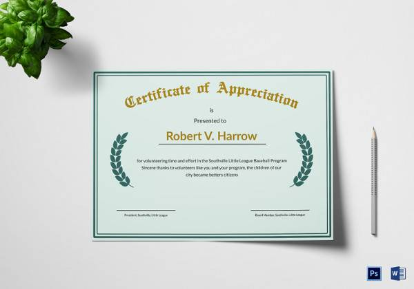 Sample certificate of appreciation temaplate 24 download illustration appreciation certificate template download yelopaper Image collections