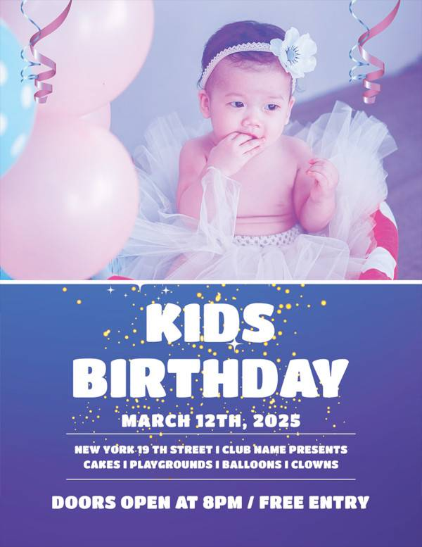 kids birthday party flyer template