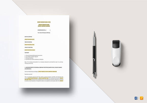memo for meeting announcement template in word