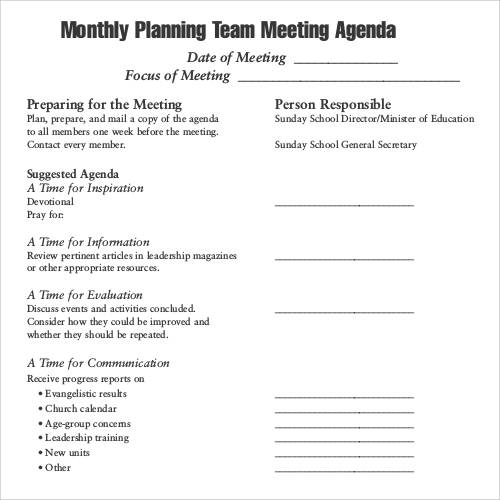 Sample Agenda Planner Weekly Staff Meeting Agenda Template Pdf