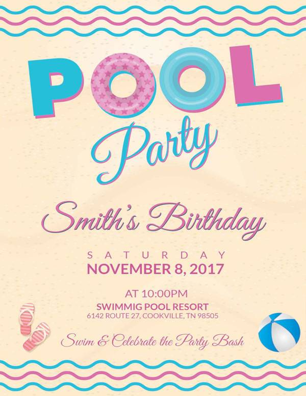 pool party birthday flyer