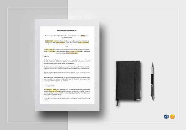 printable lawn service contract template