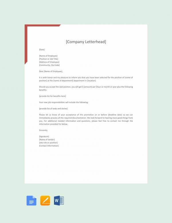 16 promotion letters doc pdf