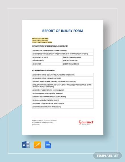 report of injury form