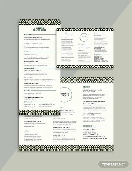 restaurant christmas menu template