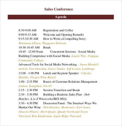 sales conference agenda