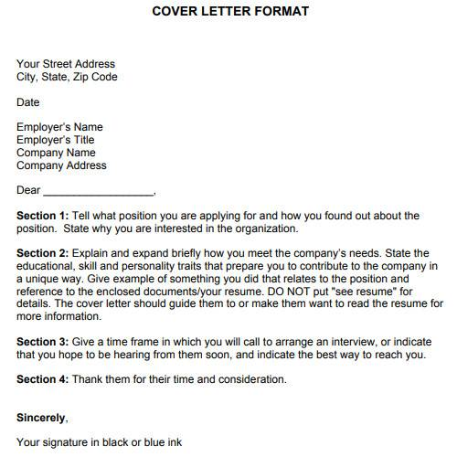 sample cover letter format in pdf