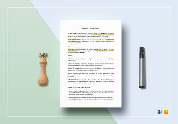 sample maintenance services contract template