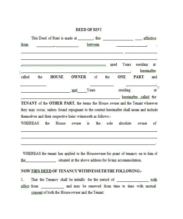 sample rental agreement in ms word