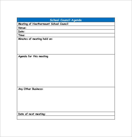school council agenda