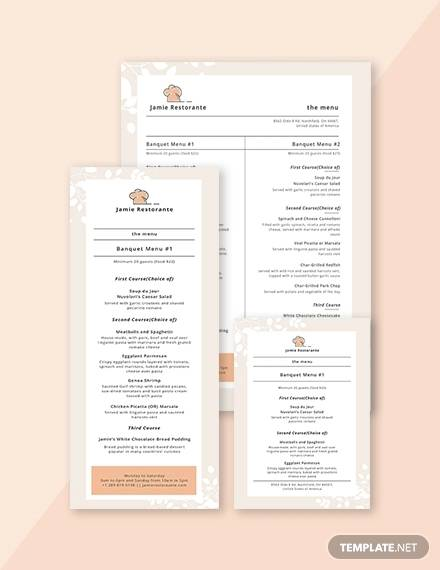 simple banquet menu template