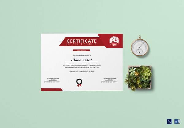 Soccer Achievement Certificate Template